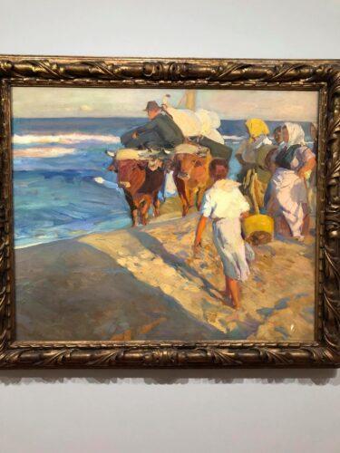 """Cuadro de JOAQUÍN Sorolla titulado """"Saliendo del Barco"""". En este cuadro se reconstituye un escena """"costumbrista"""" al lado del mar."""